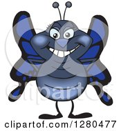 Clipart Of A Happy Blue Butterfly Standing Royalty Free Vector Illustration