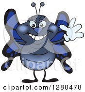 Clipart Of A Friendly Waving Blue Butterfly Royalty Free Vector Illustration