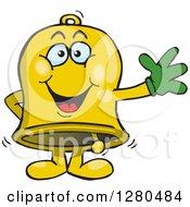 Clipart Of A Friendly Waving Charity Bell Royalty Free Vector Illustration