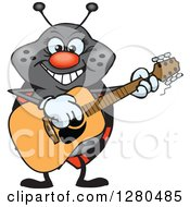 Clipart Of A Happy Ladybug Playing An Acoustic Guitar Royalty Free Vector Illustration by Dennis Holmes Designs