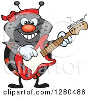 Clipart Of A Happy Ladybug Playing An Electric Guitar Royalty Free Vector Illustration by Dennis Holmes Designs