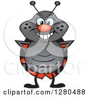 Clipart Of A Happy Ladybug Standing Royalty Free Vector Illustration