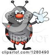 Clipart Of A Friendly Waving Ladybug Royalty Free Vector Illustration by Dennis Holmes Designs
