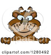 Clipart Of A Bear Grinning And Peeking Over A Sign Royalty Free Vector Illustration