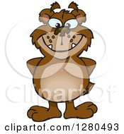 Clipart Of A Bear Grinning And Standing With His Hands Behind His Back Royalty Free Vector Illustration by Dennis Holmes Designs