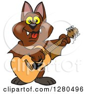 Clipart Of A Happy Bat Playing An Acoustic Guitar Royalty Free Vector Illustration by Dennis Holmes Designs