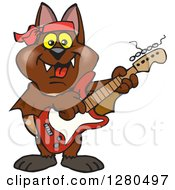 Clipart Of A Happy Bat Playing An Electric Guitar Royalty Free Vector Illustration by Dennis Holmes Designs