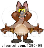 Clipart Of A Happy Brown Bat Royalty Free Vector Illustration by Dennis Holmes Designs