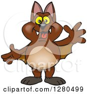 Clipart Of A Friendly Waving Brown Bat Royalty Free Vector Illustration by Dennis Holmes Designs