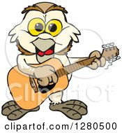 Clipart Of A Happy Barn Owl Musician Playing A Guitar Royalty Free Vector Illustration