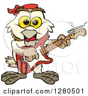 Clipart Of A Happy Barn Owl Musician Playing An Electric Guitar Royalty Free Vector Illustration