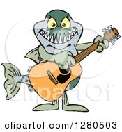 Clipart Of A Barracuda Fish Musician Playing A Guitar Royalty Free Vector Illustration by Dennis Holmes Designs
