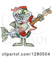 Clipart Of A Barracuda Fish Musician Playing An Electric Guitar Royalty Free Vector Illustration by Dennis Holmes Designs