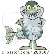 Clipart Of A Barracuda Fish Standing Royalty Free Vector Illustration by Dennis Holmes Designs