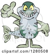 Clipart Of A Barracuda Fish Holding A Thumb Up Royalty Free Vector Illustration by Dennis Holmes Designs