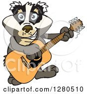 Clipart Of A Happy Badger Musician Playing A Guitar Royalty Free Vector Illustration