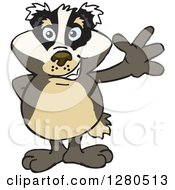 Clipart Of A Friendly Waving Honey Badger Royalty Free Vector Illustration by Dennis Holmes Designs