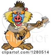 Clipart Of A Happy Baboon Musician Playing A Guitar Royalty Free Vector Illustration