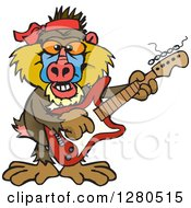Clipart Of A Happy Baboon Musician Playing An Electric Guitar Royalty Free Vector Illustration