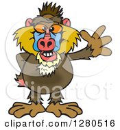 Clipart Of A Friendly Waving Baboon Royalty Free Vector Illustration