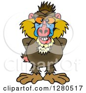 Clipart Of A Happy Baboon Royalty Free Vector Illustration