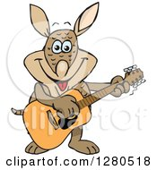 Clipart Of A Happy Armadillo Musician Playing A Guitar Royalty Free Vector Illustration by Dennis Holmes Designs