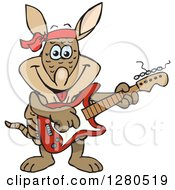 Clipart Of A Happy Armadillo Musician Playing An Electric Guitar Royalty Free Vector Illustration by Dennis Holmes Designs