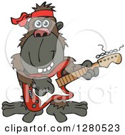 Clipart Of A Happy Ape Musician Playing An Electric Guitar Royalty Free Vector Illustration by Dennis Holmes Designs