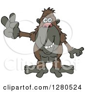 Clipart Of A Happy Ape Gesturing Peace Royalty Free Vector Illustration by Dennis Holmes Designs