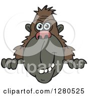Clipart Of A Happy Ape Smiling And Peeking Over A Sign Royalty Free Vector Illustration