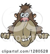 Clipart Of A Happy Brown Ape Peeking Over A Sign Royalty Free Vector Illustration by Dennis Holmes Designs