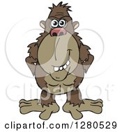 Clipart Of A Happy Brown Ape Royalty Free Vector Illustration