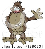 Clipart Of A Friendly Brown Ape Waving Royalty Free Vector Illustration by Dennis Holmes Designs