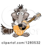 Clipart Of A Happy Anteater Musician Playing A Guitar Royalty Free Vector Illustration by Dennis Holmes Designs