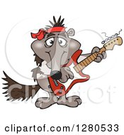 Clipart Of A Happy Anteater Musician Playing An Electric Guitar Royalty Free Vector Illustration by Dennis Holmes Designs