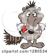 Clipart Of A Goofy Anteater Sticking His Tongue Out Royalty Free Vector Illustration