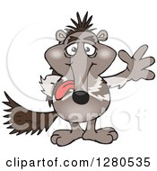 Clipart Of A Goofy Waving Anteater Sticking His Tongue Out Royalty Free Vector Illustration by Dennis Holmes Designs