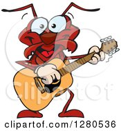 Clipart Of A Happy Ant Musician Playing A Guitar Royalty Free Vector Illustration by Dennis Holmes Designs