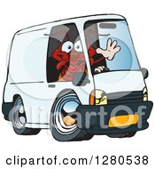 Red Ant Waving And Driving A Delivery Van
