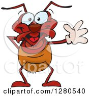 Clipart Of A Happy Ant Waving Royalty Free Vector Illustration by Dennis Holmes Designs