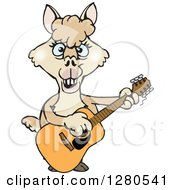 Clipart Of A Happy Alpaca Musician Playing A Guitar Royalty Free Vector Illustration