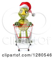 Clipart Of A 3d Christmas Tortoise With An Empty Shopping Cart Royalty Free Illustration