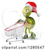 Clipart Of A 3d Christmas Tortoise Pushing An Empty Shopping Cart To The Left Royalty Free Illustration