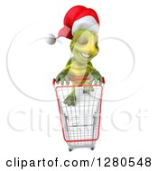 Clipart Of A 3d Aerial View Of A Christmas Tortoise With An Empty Shopping Cart Royalty Free Illustration