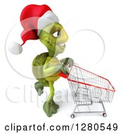 Clipart Of A 3d Christmas Tortoise Pushing An Empty Shopping Cart To The Right Royalty Free Illustration