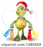 Clipart Of A 3d Christmas Tortoise Carrying Colorful Shopping Or Gift Bags Royalty Free Illustration