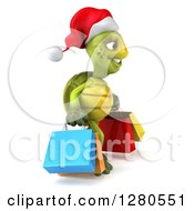 Clipart Of A 3d Christmas Tortoise Facing Right And Carrying Colorful Shopping Or Gift Bags Royalty Free Illustration