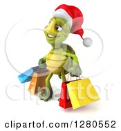 Clipart Of A 3d Christmas Tortoise Facing Left And Carrying Colorful Shopping Or Gift Bags Royalty Free Illustration