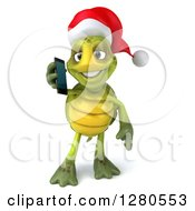 Clipart Of A 3d Christmas Tortoise Talking On A Smart Cell Phone Royalty Free Illustration