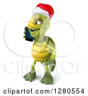 Clipart Of A 3d Christmas Tortoise Facing Left And Talking On A Smart Cell Phone Royalty Free Illustration
